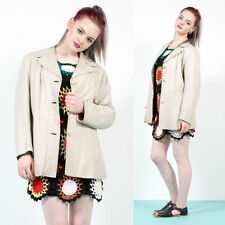 70'S CREAM JACKET LEATHER BIG COLLARED TRENCH MAC STYLE MOD SUMMER COAT 16