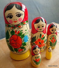 """traditional  WOOD Hand painted  RUSSIAN NESTING DOLL 5  PCS   4.5""""  #16s"""