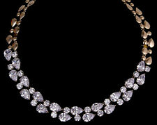 14k Rose Gold Necklace made w/ Authentic Swarovski Crystal Clear Stone Bridal