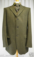 "Green Black Houndstooth Wool Cashmere Tweed Jacket Blazer BÄUMLER UK 42"" Long L"