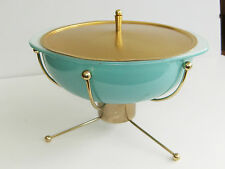 """VINTAGE PYREX TURQUOIS """"UFO"""" CASSEROLE DISH 024 WARMING STAND, CANDLE & LID 5Pcs"""