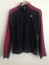 Black Adidas Track Jacket Women's Large 3 Pink Stripes Athletic Yoga Full Zipper