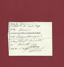 Ricevuta Postale Ermini Consegna Lettera con Boni Scudi al Sig Briccanti Orvieto