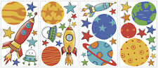 ROCKET & PLANETS wall sticker 39 decal scrapbook Universe outer space rocketship