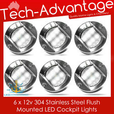 6 X 12V STAINLESS STEEL FLUSH MOUNTED CABIN COCKPIT TRANSOM BOAT YACHT LED LIGHT