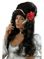 Amy Winehouse Costume Tema Nero REHAB BEEHIVE ROSE & Parrucca ACCESSORIO DONNA