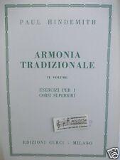 Paul HINDEMITH armonìa tradizionale esercizi per corsi superiori vol 2 ed Curci