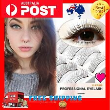 10 Pairs Long Thick Natural False Fake Eyelashes REUSABLE Extension Lashes NEW++