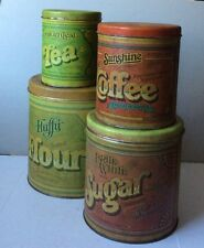 VTG 1977 BALLOMOFF CLEVELAND Tin Canisters Flour Sugar Tea Coffee Kitchenware