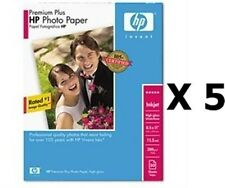 "*NEW* 5qty Lot HP Premium Plus Photo Paper High Gloss 50 Sheets 8.5 x 11"" Q1785A"
