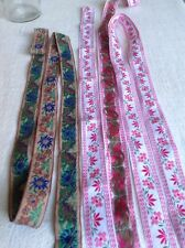 2pc Vintage Woven Tape, Pink & Brown Cotton Trim, Folk Ribbons Dolls & Bears NOS
