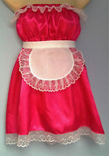 cerise satin dress + apron adult baby fancy dress sissy french maid cosplay36-52