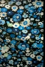 """Daisy Floral Nature JERSEY VISCOSE Stretch Fabric Material 60"""" Width Blue/White"""