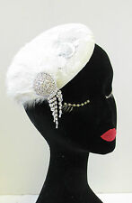 Ivory Cream Silver Feather Lace Fascinator Headpiece Hat Vintage 1920s 1940s U44