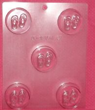 Flip Flops,Sandals,Summer,Beach Cookie Candy Mold,Chocolate,Clear Plastic,C/K