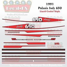 1991 Indy 650 Polaris Graphics Reproduction 23 Piece Decal Snowmobile Kit Triple