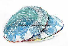 2PC African Tiger Round Floor Pillow Cover Pouf Ottoman Cushion Sham Case Indian