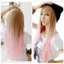 Fashion Women Long Straight Pink Brown Lolita Wig Heat Resistant Hair Wig Wigs