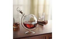 Wine Bourbon Whiskey Etched Globe Spirits Decanter Handmade Mouthblown Dispenser