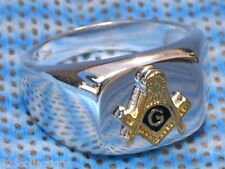 925 Sterling Silver Two Tone No Stone Free Mason Masonic Men Ring Jewelry Size 8