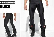 Men's Grande Metallico Nero Compressione Corsa Collant di formazione Activewear Gay UK