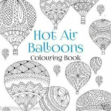 Hot Air Balloons Adult Colouring Book Creative Gift Art Therapy Summer Sky Cloud