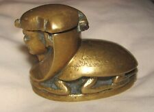 ANTIQUE VICTORIAN ART DECO EGYPTIAN BRASS SCARAB SPHINX INKWELL PAPERWEIGHT BOX