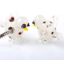 1pcs SILVER MURANO GLASS BEAD LAMPWORK Animal fit European CSSHm Bracelet SS282