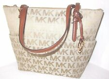 Michael Kors Jet Set Top Zip Beige Camel Luggage Signature NS Tote Bag NWT $228