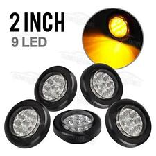 "5x 2"" Clear/Amber LED Marker Light Cab Panel Light 9Diode Sealed Round w Grommet"