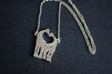 silver tone giraffe pair necklace kitsch emo sweet love
