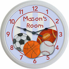 Sports Baseball Football Soccer Hockey Wall Clock Custom Personalized New!