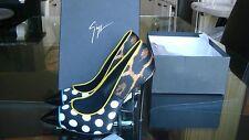 New Giuseppe Zanotti Mixed media Cheetah Print & Polka Dot Point Toe Pumps 38 NR