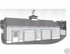 36 x 28 - Oversized Two Stall Car Garage Building Plans Blueprints