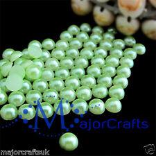 1800pcs Light Green 1.5mm Flat Back Half Round Resin Pearls Nail Art Gems C30