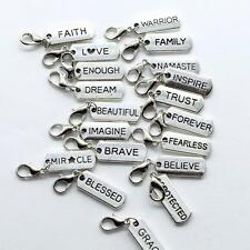 M&T 20PCS Silver Tone No-Repeat Words Clip-On Inspiration Charms Pendants, C25
