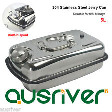 5L 304 Stainless Steel Jerry Can Fuel Storage for Boat/Car/4WD Built-in Spout