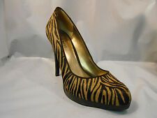 Nine West Two Tone Brown Zebra Print Cow Hair Leather Pumps Women's Size 7.5 M