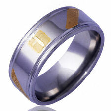 Men Yellow White Gold Filled Jesus Cross Band Love Stainless Steel Ring Size 11