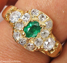 1.00CT ANTIQUE VINTAGE GREEN EMERALD DIAMOND ENGAGEMENT WEDDING CLUSTER RING 18K