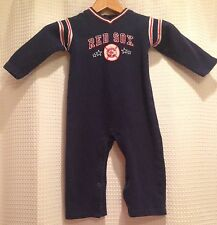 MLB~Boston Red Sox~24M~One-Piece Coveralls Jumpsuit~Navy~Cotton~Snap Bottom~Warm