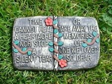 Time cannot heal BOOK MEMORIAL STONE PLAQUE ORNAMENT GARDEN STATUE SPECIAL