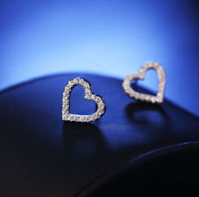 Women Silver Plated Heart Ear Studs Girls Crystal Rhinestone Good Earrings