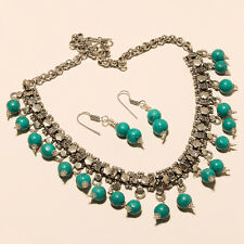 STUNNING TURQUOISE 925 STERLING SILVER OVERLAY GEMSTONE NECKLACE JEWELERY