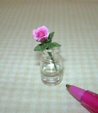 Miniature Glass Jar / Single Pink Rose / Resin Water DOLLHOUSE 1/12