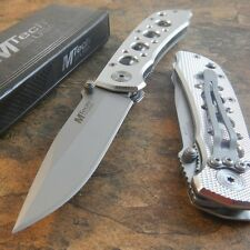MTech Linerlock Folding Knife 440 Stainless Blade - Diamond Cut Aluminum Handle