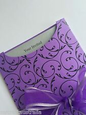 1 X Purple Black Pocket Pouch and Envelope for Wedding Invitations DIY