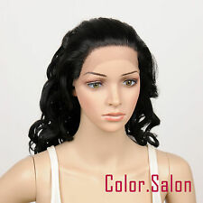 HAND TIED Synthetic Hair LACE FRONT FULL WIGS GLUELESS Off Black Tone 32#1B