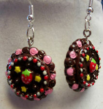 PASTRY CAKE STRAWBERRY ROSE CHOCOLATE CANDY EARRINGS 925 EARRINGS GIFT nora winn