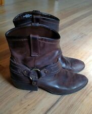 MOSSIMO Kaiala Brown Leather Western Cowboy Harness Ankle Boots Women's Size 9.5